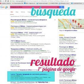 Ejemplo de posicionamiento web en Bilbao de la terapeuta leonor Taboada, hecho por Poison Estudio