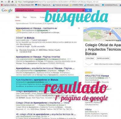 Ejemplo de posicionamiento web en Bilbao de la empresa Kyra, hecho por Poison Estudio