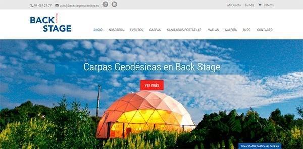Página web de Back stage marketing