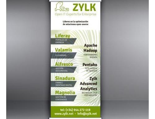 diseño gráfico de rollup y dípticos para la empresa Zylk