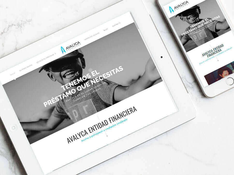 Diseño y maquetación de página web para Avalyca por Poison Estudio